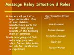 message relay situation roles