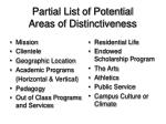 partial list of potential areas of distinctiveness