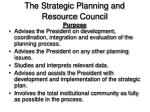 the strategic planning and resource council purpose