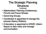 the strategic planning structure continued