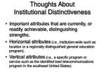 thoughts about institutional distinctiveness