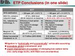 etp conclusions in one slide