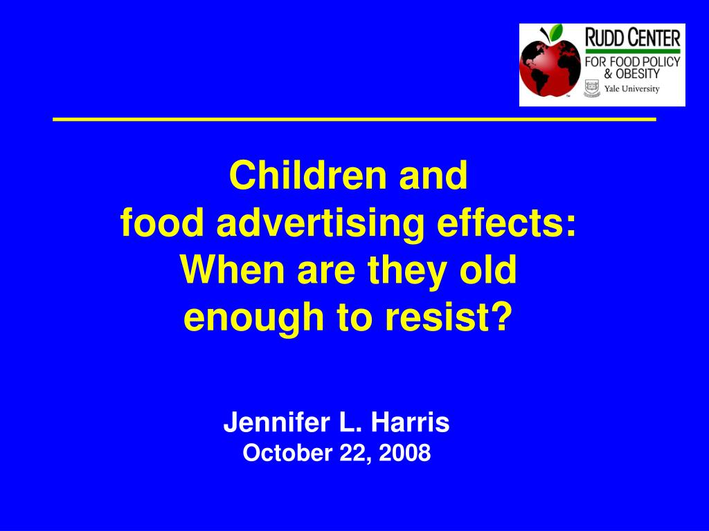 children and food advertising effects when are they old enough to resist l.