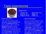 taste expectancies