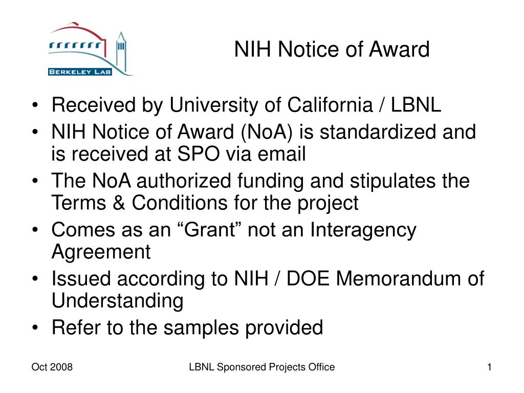 nih notice of award l.