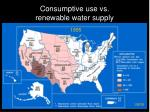 consumptive use vs renewable water supply