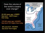 does the volume of the world s oceans ever change