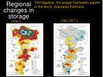 regional changes in storage