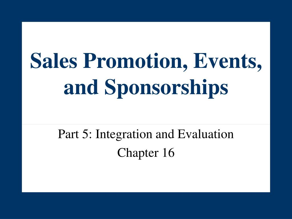 sales promotion events and sponsorships l.