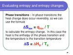 evaluating entropy and entropy changes