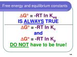 free energy and equilibrium constants