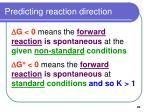 predicting reaction direction