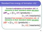standard free energy of formation d g f