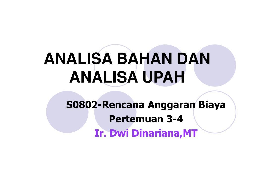 analisa bahan dan analisa upah