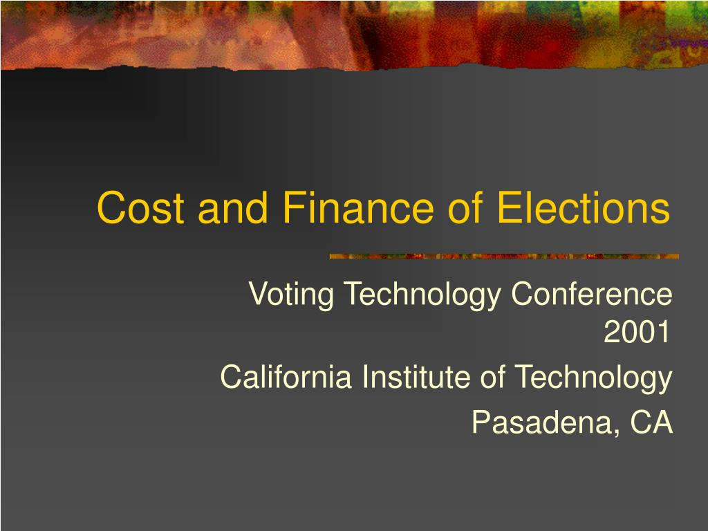 cost and finance of elections l.