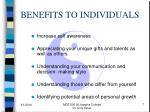 benefits to individuals