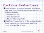 conclusions random forests