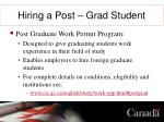 hiring a post grad student