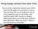 hiring foreign workers from other firms