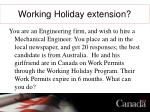 working holiday extension