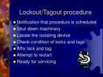lockout tagout procedure