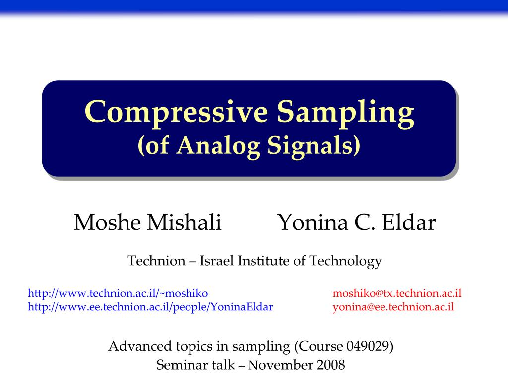 compressive sampling of analog signals l.