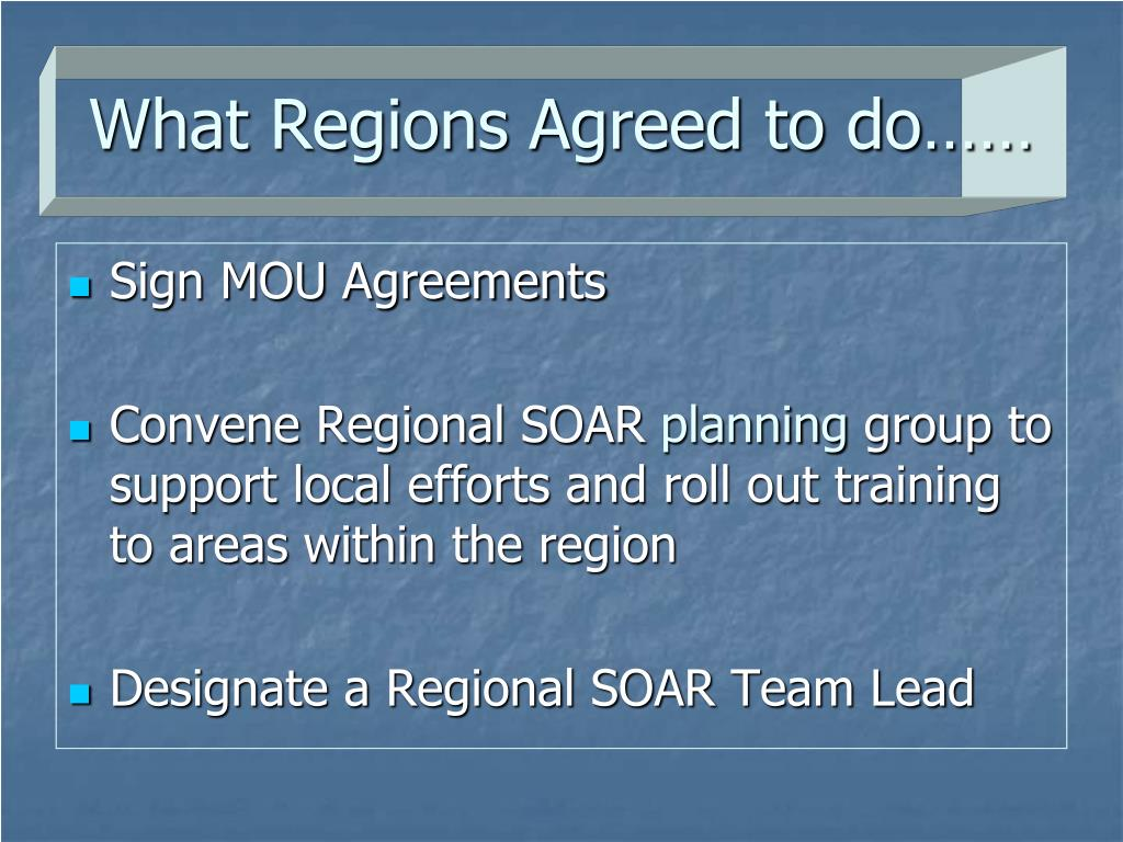 What Regions Agreed to do……