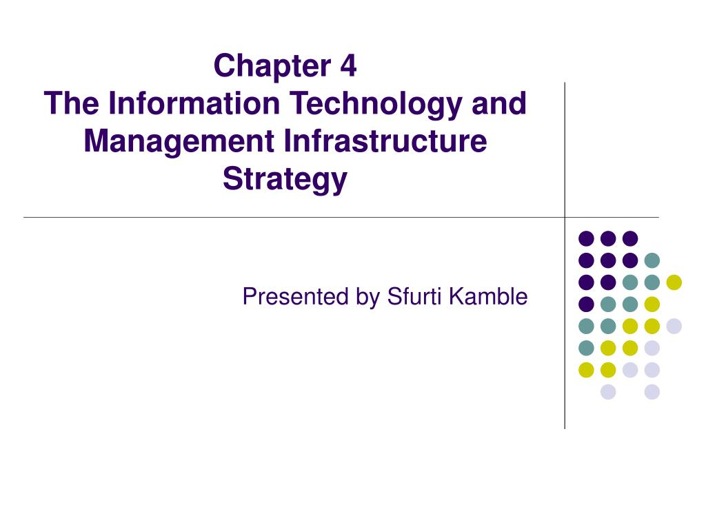 chapter 4 the information technology and management infrastructure strategy l.