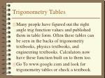 trigonometry tables