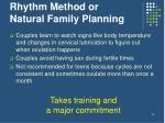 rhythm method or natural family planning