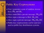 public key cryptosystems