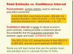 point estimate vs confidence interval