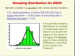 sampling distribution for educ