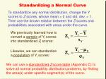 standardizing a normal curve
