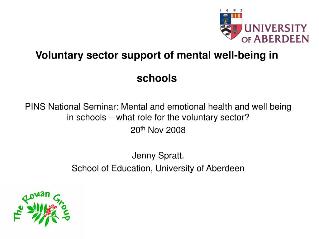 voluntary sector support of mental well being in schools l.