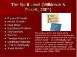 the spirit level wilkinson pickett 2009