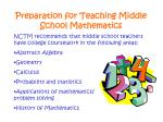 preparation for teaching middle school mathematics6