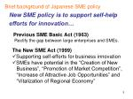 new sme policy is to support self help efforts for innovation