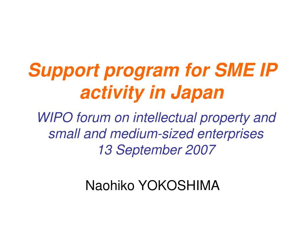 support program for sme ip activity in japan l.