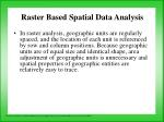 raster based spatial data analysis