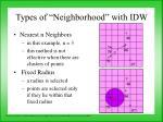 types of neighborhood with idw
