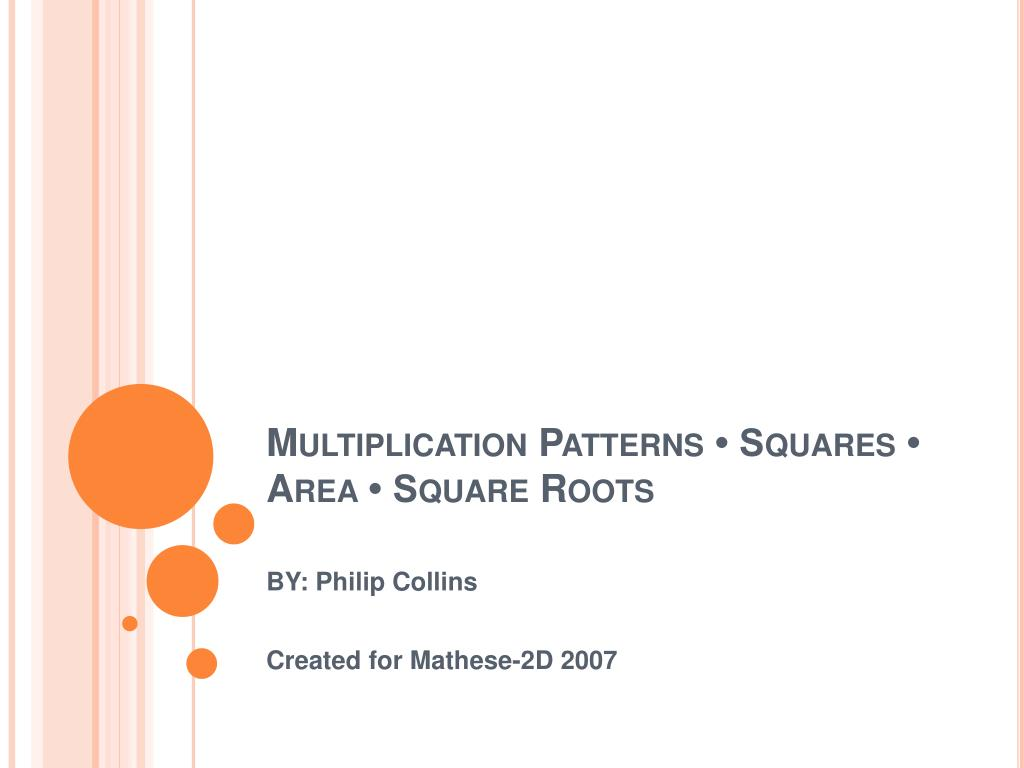multiplication patterns squares area square roots l.
