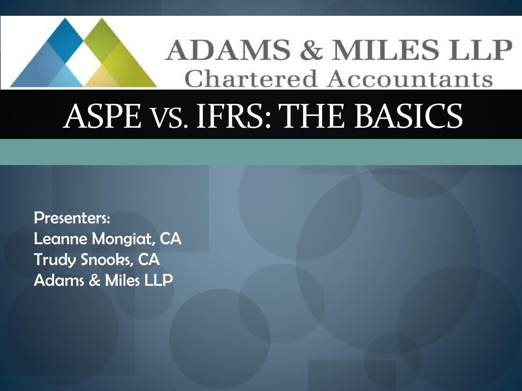 aspe vs ifrs the basics l.