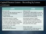 capital finance leases recording by lessee continues