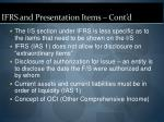 ifrs and presentation items cont d12