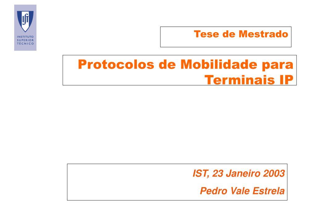 protocolos de mobilidade para terminais ip l.