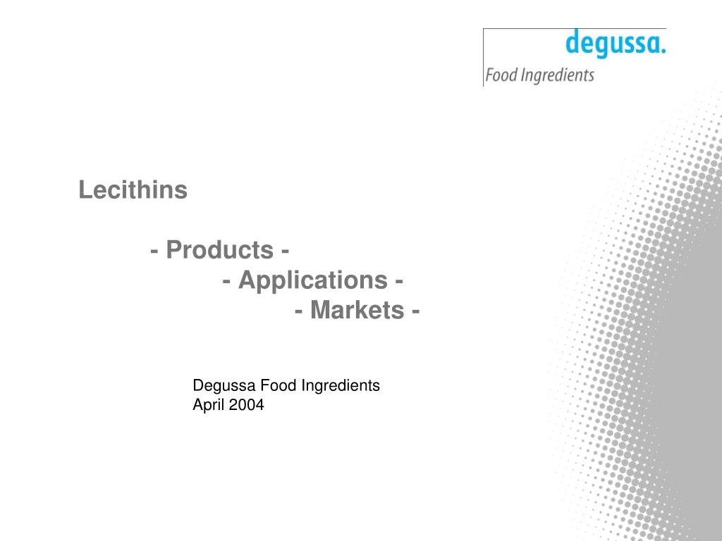 lecithins products applications markets l.