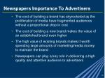 newspapers importance to advertisers