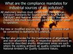 what are the compliance mandates for industrial sources of air pollution