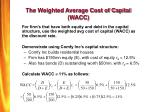 the weighted average cost of capital wacc